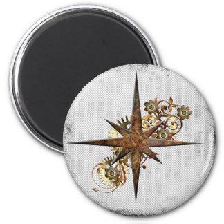 Steampunk Compass Star Grunge 6 Cm Round Magnet
