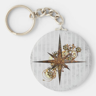 Steampunk Compass Star Grunge Key Ring