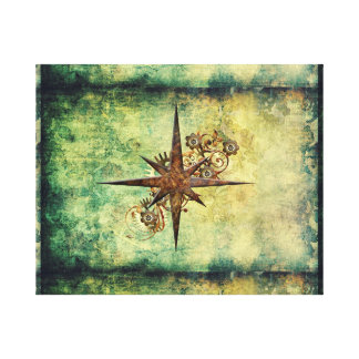 Steampunk Compass Star Wrapped Canvas