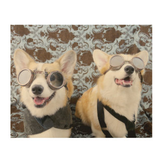 Steampunk Corgis Wooden Wall Art
