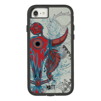 Steampunk Cow Skull and Indian Tribal Feathers Case-Mate Tough Extreme iPhone 8/7 Case