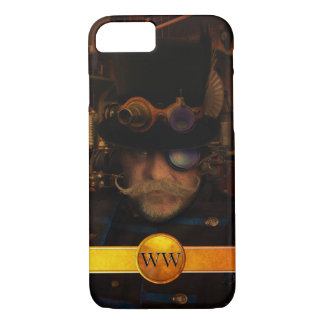 Steampunk Custom Gold Monogram Moustache Captain iPhone 8/7 Case