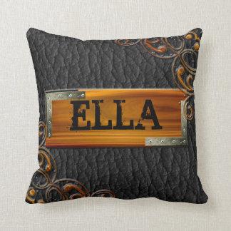 Steampunk Customize Leather Nameplate Throw Pillow