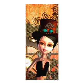 Steampunk, cute girl 10 cm x 24 cm invitation card