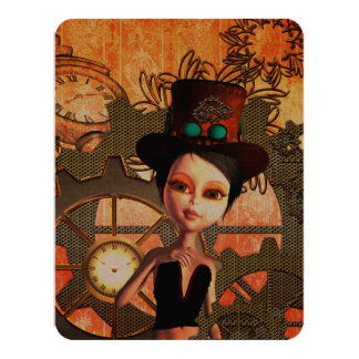 Steampunk, cute girl 11 cm x 14 cm invitation card