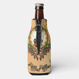 Steampunk , cute owl bottle cooler