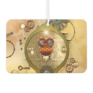 Steampunk, cute owl car air freshener