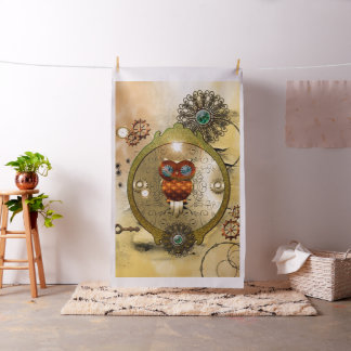 Steampunk, cute owl fabric