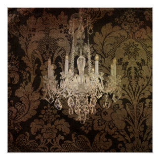 Steampunk damask country rustic vintage chandelier poster