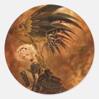 Steampunk Dark Angel Round Sticker