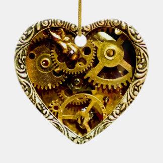 Steampunk Ceramic Heart Decoration