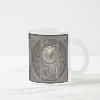 Steampunk Device - Rotary Dial Phone. Frosted Glass Coffee Mug