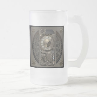 Steampunk Device - Rotary Dial Phone. Frosted Glass Mug