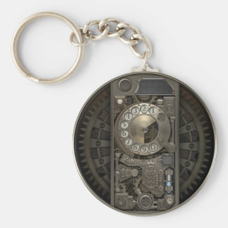 Steampunk Device - Rotary Dial Phone. Basic Round Button Key Ring