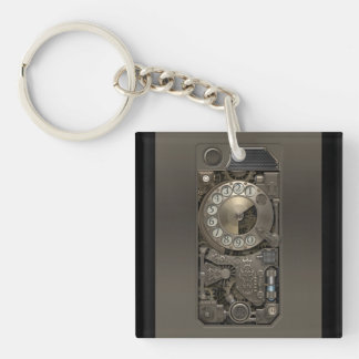 Steampunk Device - Rotary Dial Phone. Single-Sided Square Acrylic Key Ring