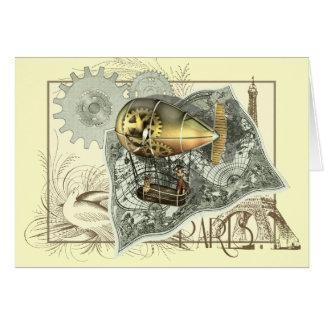 Steampunk Dirigible Air Tour Greetings Card