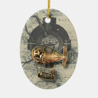 Steampunk Dirigible Balloon Ride Ceramic Oval Decoration