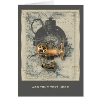 Steampunk Dirigible Balloon Ride Personalized Card