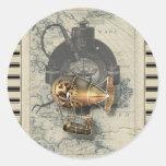 Steampunk Dirigible Balloon Ride Round Stickers