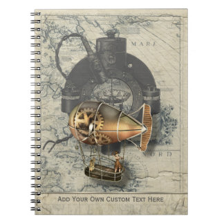 Steampunk Dirigible Balloon Ride Spiral Note Books