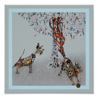steampunk dog park with squirrel poster