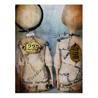 steampunk dolls card postcard