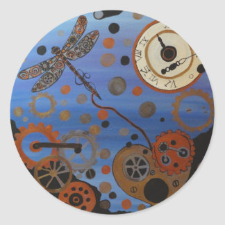 Steampunk dragonfly and heart classic round sticker