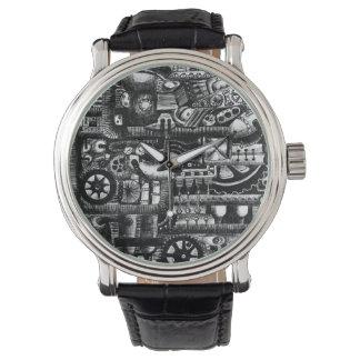 steampunk draw machinery cartoon mechanism pattern watch