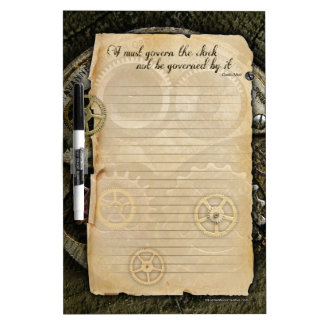 SteamPunk Dry Erase Gears parchment quote board Dry Erase Boards