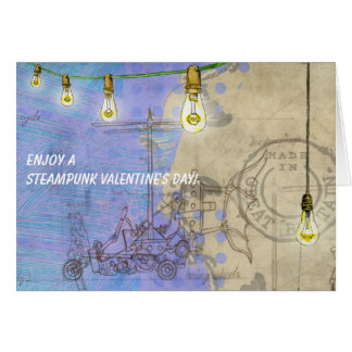 Steampunk Edison Lights on a Wire Valentine's Day Card