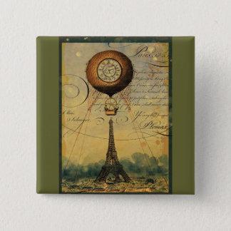Steampunk Eiffel Tower & Hot Air Balloon 15 Cm Square Badge