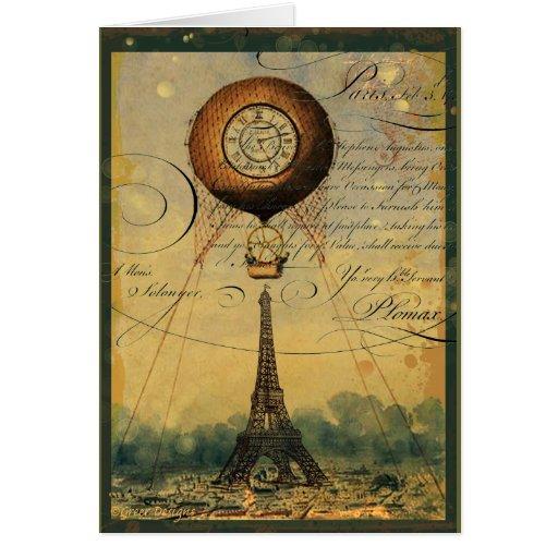 Steampunk Eiffel Tower & Hot Air Balloon Greeting Card