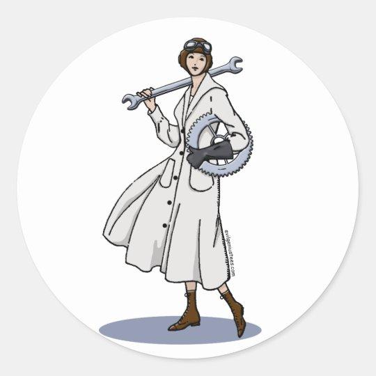 Steampunk Engineer Round Sticker
