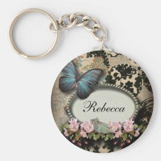 steampunk Ephemera floral Butterfly victorian Key Ring