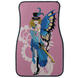 Steampunk fairy all in pink and blue car mat