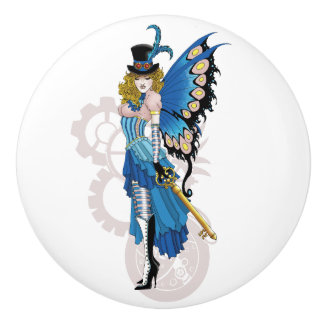 Steampunk fairy all in pink and blue ceramic knob
