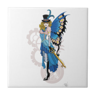 Steampunk fairy all in pink and blue tile