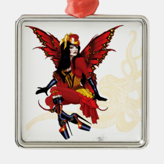 Steampunk fairy all in red Silver-Colored square decoration