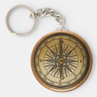 Steampunk Faux Compass Design Keychain