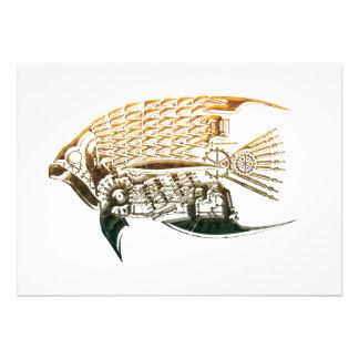 Steampunk fish invitations