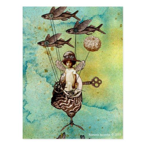Steampunk Flying Fish Seaship Postcard