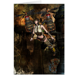 steampunk flying girl greeting card