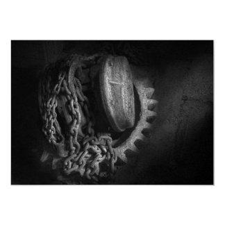 Steampunk - Gear - Hoist and chain 13 Cm X 18 Cm Invitation Card