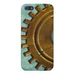 Steampunk Gear on Green Leather-look 2 iPhone Case Cover For iPhone 5