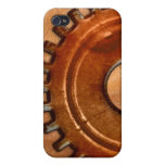 Steampunk Gear on Tan Leather-look 4 iPhone Case Covers For iPhone 4