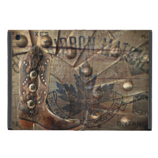 Steampunk gear western country cowboy boot cover for iPad mini