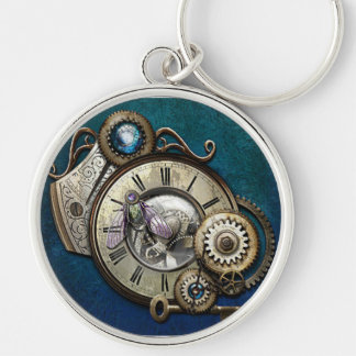 Steampunk Gears and Dragonfly Heart Key Chain
