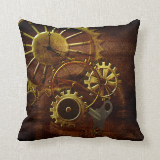 Steampunk Gears and Pipes Throw Pillow