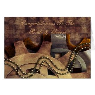 Steampunk Gears & Baubles Wedding Card