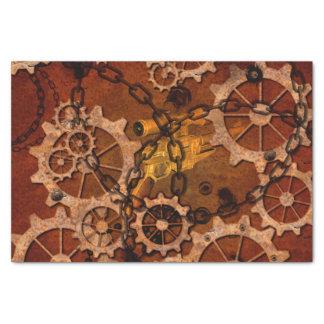 """Steampunk, gears in rusty metal 10"""" x 15"""" tissue paper"""